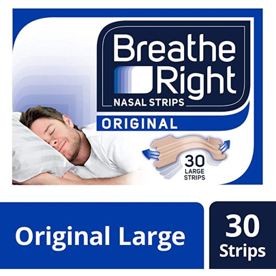 Breathe Right Snoring Congestion Relief Nasal Strips - 30 Large Strips