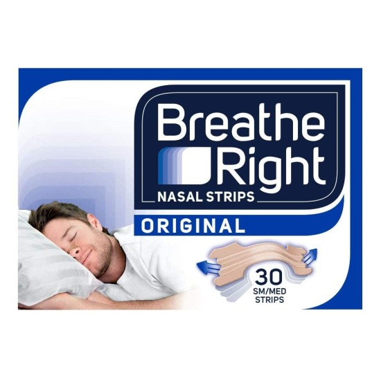 Breathe Right Snoring Congestion Relief Nasal Strips - 30 Small/Medium Strips