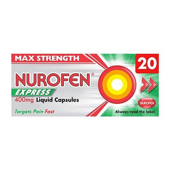 Nurofen Express Max Strength 400mg Liquid Capsules - 20 Pack