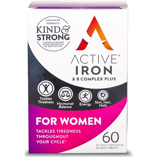 Active Iron For Women - 30 Iron Tablets & 30 Vitamin B Tablets