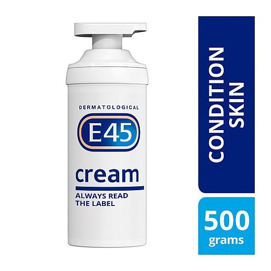 E45 Cream Pump Dispenser Dermatological for Dry and Condition Skin, 500g