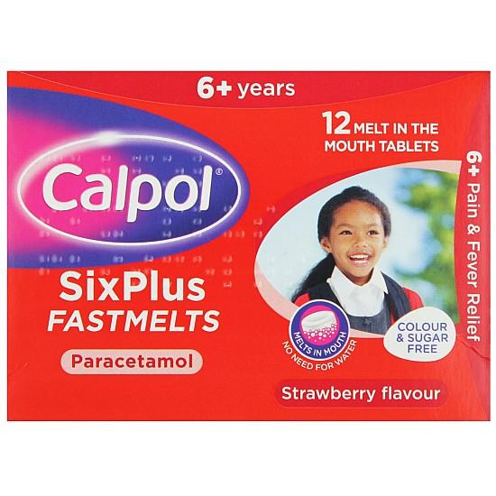 Calpol SixPlus FastMelts Strawberry - 12 Tablets